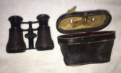 Antique Binoculars / Opera Glasses with Leather Case