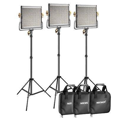 """3 Packs Neewer Dimmable Bi-Color 480 LED Video Light And Stand Lighting Kit 75"""""""