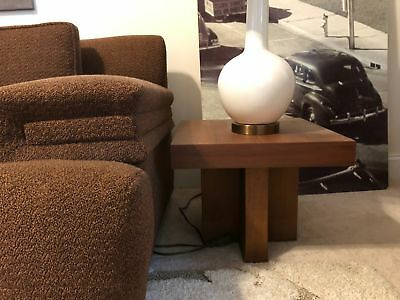 2 Vintage Danish Modern Walnut Cross Base Low Profile End Tables