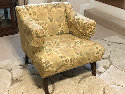 Pair of MCM Beige Floral Arm Chairs