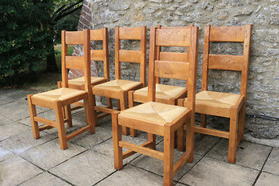 6 Lovely Vintage French Solid Oak Farmhouse Dining Chairs