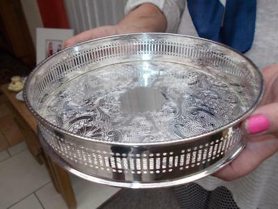 Elkington Silver Plated Circular Gallery Drinks Tray In Lovely Condition