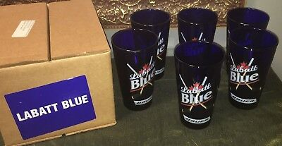 Set of 6 Labatt Cobalt Blue glasses BAUER Hockey NEW in original box