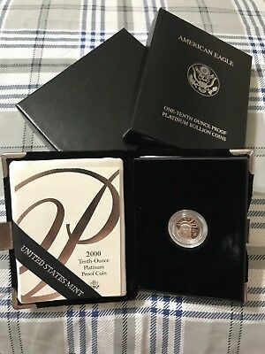 2000 - American Platinum Eagle Proof  - 1/10 oz. -  $10 with U.S. Mint Packaging