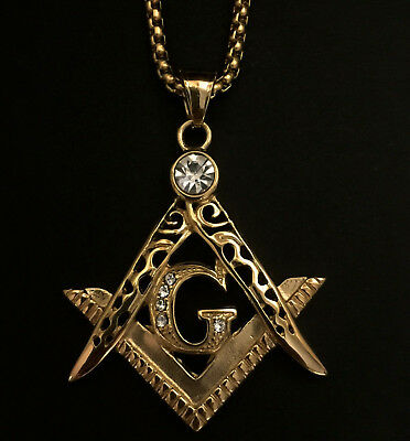 Large Gold Masonic G Compass Pendant Medallion on Belcher chain with Stones 30g
