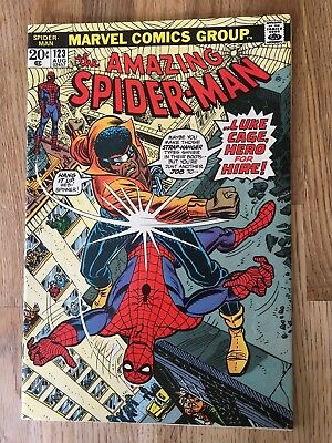 Amazing Spider-Man #123 (1973 Marvel) Luke Cage appearance Bronze Age