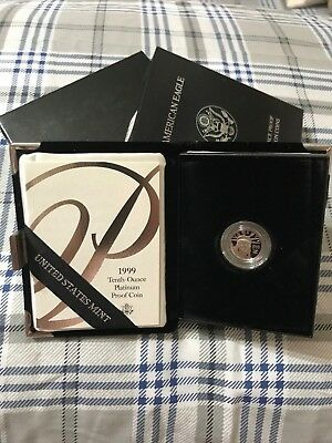 1999 - American Platinum Eagle Proof - 1/10 oz. - $10 - with U.S. Mint Packaging