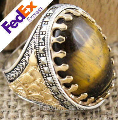 Natural Tiger's Eye Stone 925 Sterling Silver Turkish Handmade Special Men Ring