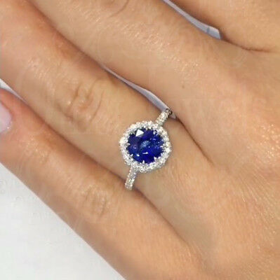 3Ct Round Blue Round Sapphire Octagon Halo Engagement Ring 10K Real White Gold