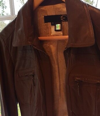 Robert Cavalli soft brown leather Jacket size 8/10