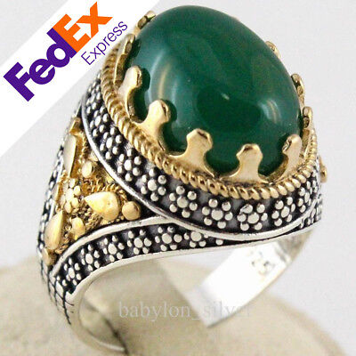 Handmade Turkish 925 Sterling Silver Natural Green Agate Stone Men/'s S RING #B33
