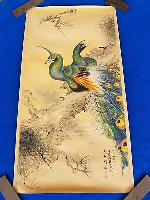 Japanese Peacock Painting Art Picture Vintage Antique Old Japan Art Signed Stamp