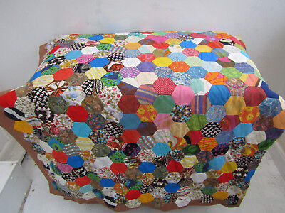 Vintage Handmade 1950's Patchwork Multi Coloured Quilt Throw Bedspread