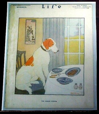 Life Magazine Cover Reprint 1916 Thanksgiving Dog ( Breed ? )The Honor System