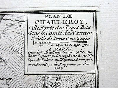 Plan De Charleroy. Charlerois. Belgium. 1709. Antique Map Of Fortification