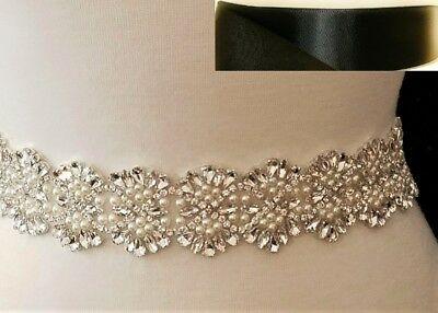 Clear Rhinestone Pearl Wedding Bridal Dress SASH BELT =19 inch long = BLACK