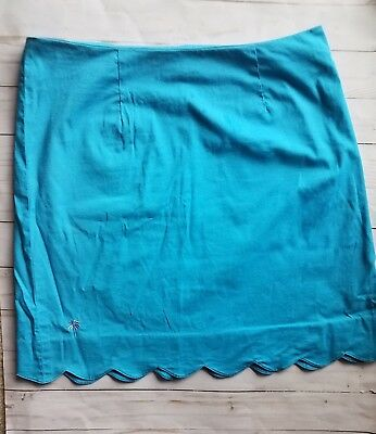 Lilly Pulitzer Teal Scalloped Hem Skirt Size 6