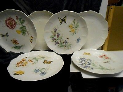 6 Lenox China BUTTERFLY MEADOW Dinner Plates  Different Designs EXCELLENT 10.75