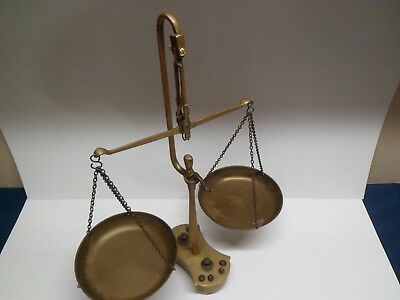 Antique Brass Scales, Greece with Perched Owl, Complete, All Weights and Trays