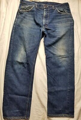 Vintage Levi's Distressed 505 Big E #8 Denim Jeans Size 36 X 28 Made in USA
