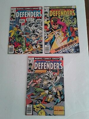 The Defenders Lot Of 3  Bronze Age Marvel Comics #47 48 & 49 Moon Knight Vf Vf+