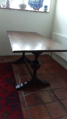 1940S Refectory Style Table Oak Veneer With Beech Legs 30 Inches X 61 Inches