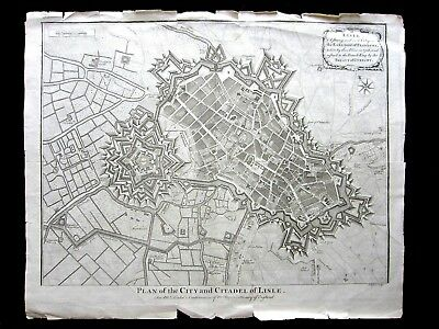 Antique Plan Of City And Citadel Of Lisle. Isaac Basire. 1732