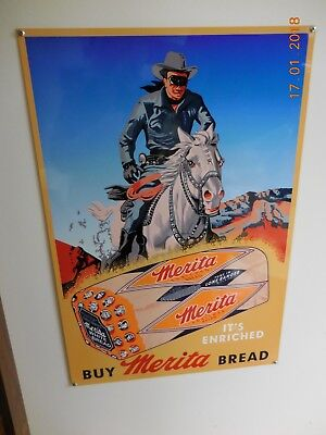 Reproduction Merita Bread Lone Ranger Country Store Sign Made In Usa 19 X 28