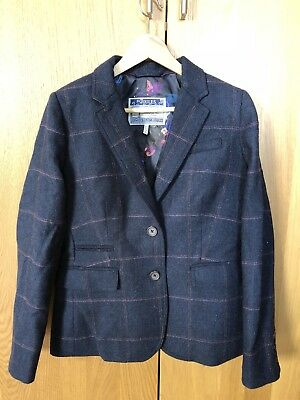 Joules Portman Navy Tartan Jacket Size 14 New with Tags