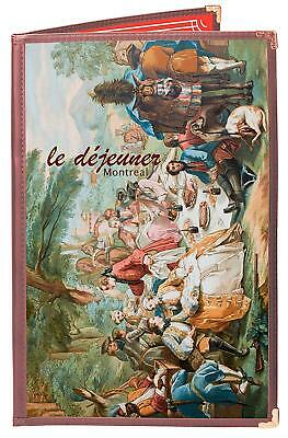 """BURGUNDY DOUBLE PANEL 4-VIEW 8.5""""x14"""" DOUBLE-STITCHED MENU COVER"""