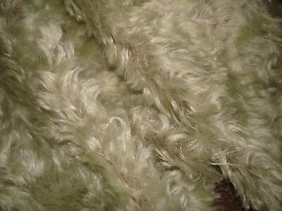 """#11 Mohair fabric  Teddy Bear 56""""x12""""curly finish backing brown pile gray green"""