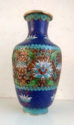 Antique Old Collectible Rare Hand Carved Copper Floral With Meena Work Vase Pot
