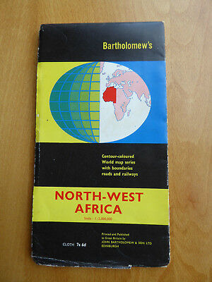 Vintage Fold-out Map of North West Africa - 1965 - VGC