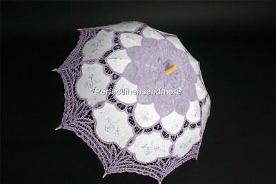 Battenburg Lace Lilac Parasol with Lilac Embroidery