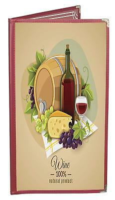 """Burgundy Double-Half-Width-Panels 4-View 4.25""""x11"""" Double-Stitched Menu Covers"""