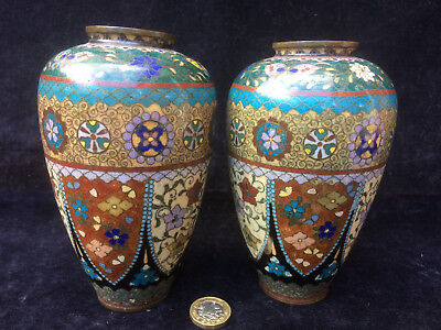 x 2 Early Vintage Japanese Cloisonne - Pair, Oriental Decorated Vase with Age