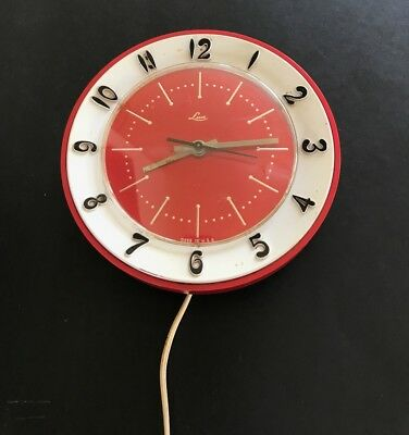 Vintage Lux Red Wall Clock Electric 2 Prong 1960s Atomic Gold Hands Works VGC