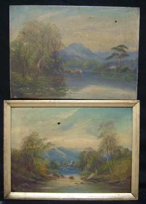 PAIR OF 1860s SCOTTISH OIL PAINTINGS FOR RESTORATION - SCOTLAND HIGHLAND CATTLE
