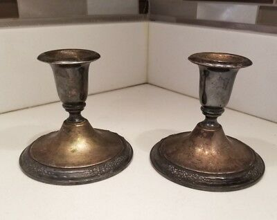 International Silver Company Camille Pair of Candle Stick Holders Silverplated
