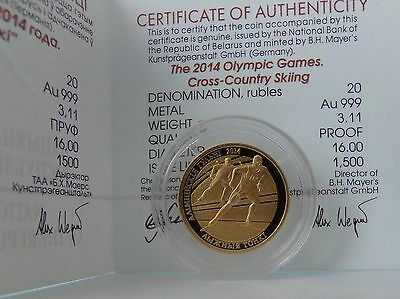 Belarus 20 Rubles 2012 The 2014 Olympic Games.Cross-country Skiing  Gold*