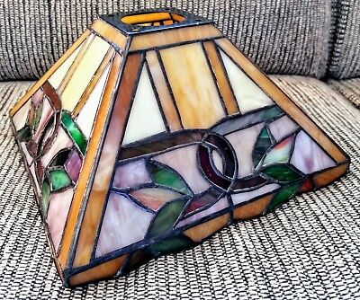 Antique Art Nouveau Bronze Tiffany Style Aztec Light Fix - Stainded Glass Shade