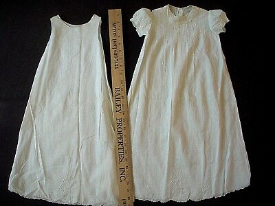 Antique Vintage Handmade Cotton 2 Piece Christening dress and slip for baby