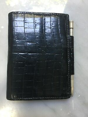 Hermes crocodile agenda cover with silver propelling Hermes branded pencil