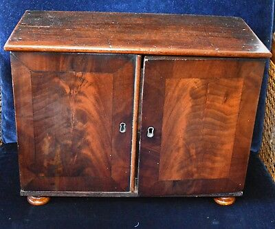 Antique Victorian Small Oak & Mahogany Table Top Cabinet