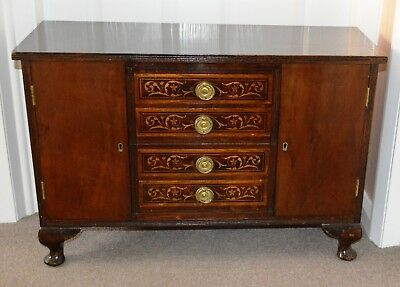 Antique Miniature Mahogany Edwardian Sideboard with Inlaid Drawers