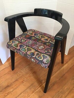 Antique Mid Century Asian Modern Black Lacquer 1980's Upholstery Ex Condition