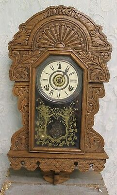 Beautiful Ornate Antique Carved Oak SESSIONS Hanging Wall Clock