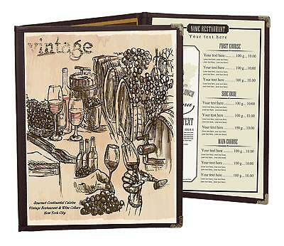 """MENU COVERS BROWN TRIPLE PANEL FOLDOUT 6-VIEW 8.5"""" x 11"""" DOUBLE-STITCHED"""