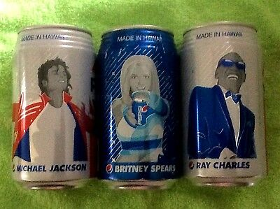 NEW 2018 FULL 12 oz PEPSI MICHAEL JACKSON BRITNEY RAY Made in HAWAII Ribbed Can