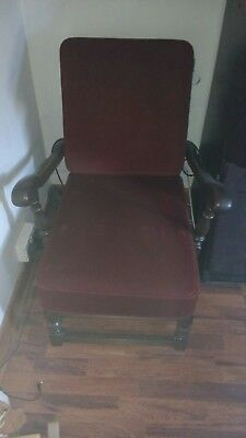 3 Ercol old colonial  wooden arm chairs original upholstery